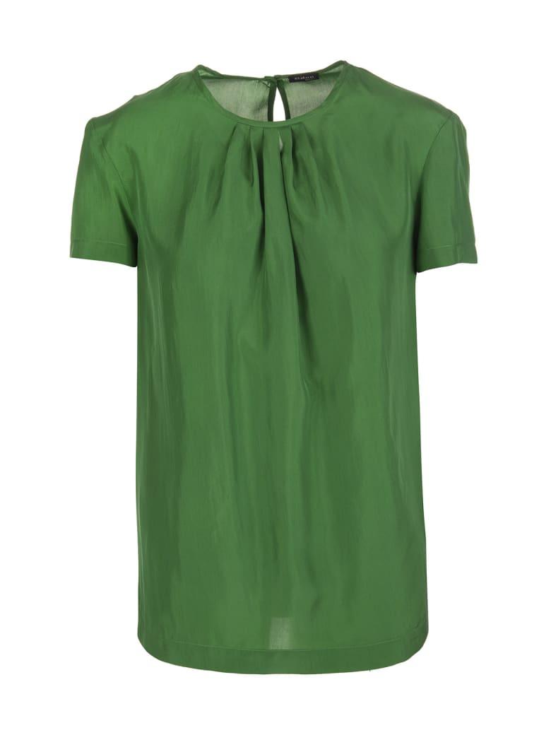 Kiton Prato Green Silk Round Neck Silk Blouse - Prato