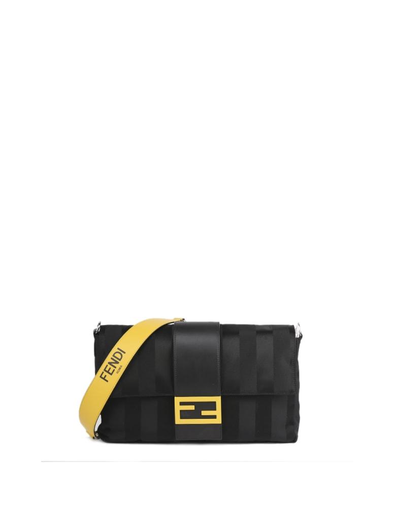 Fendi Baguette Black Nylon & Leather Large Bag - Black