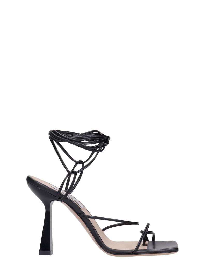 Sebastian Milano Sandals In Black Leather - black