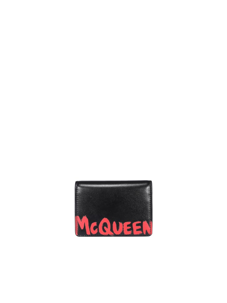 Alexander McQueen Logo Graffiti Cards Holder - Blacklustred