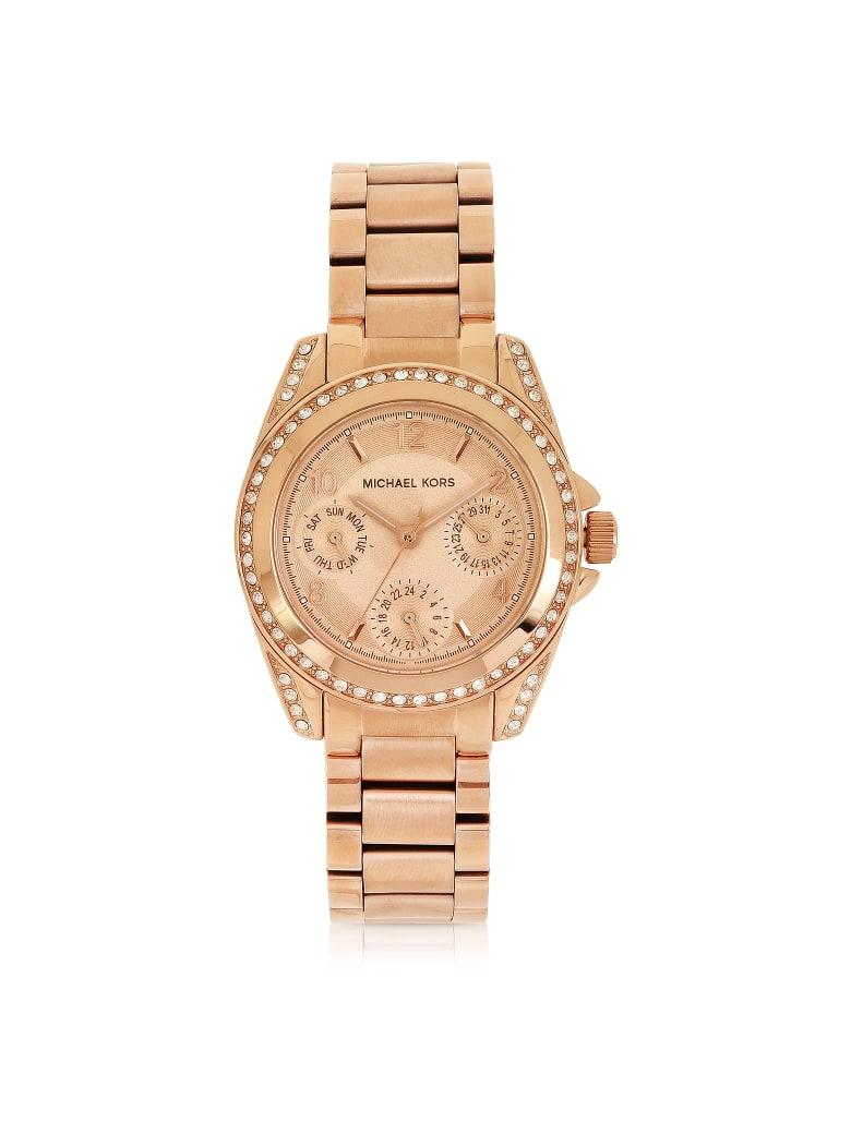 Michael Kors Rose Golden Mini-size Blair Multi-function Glitz Watch - Pink