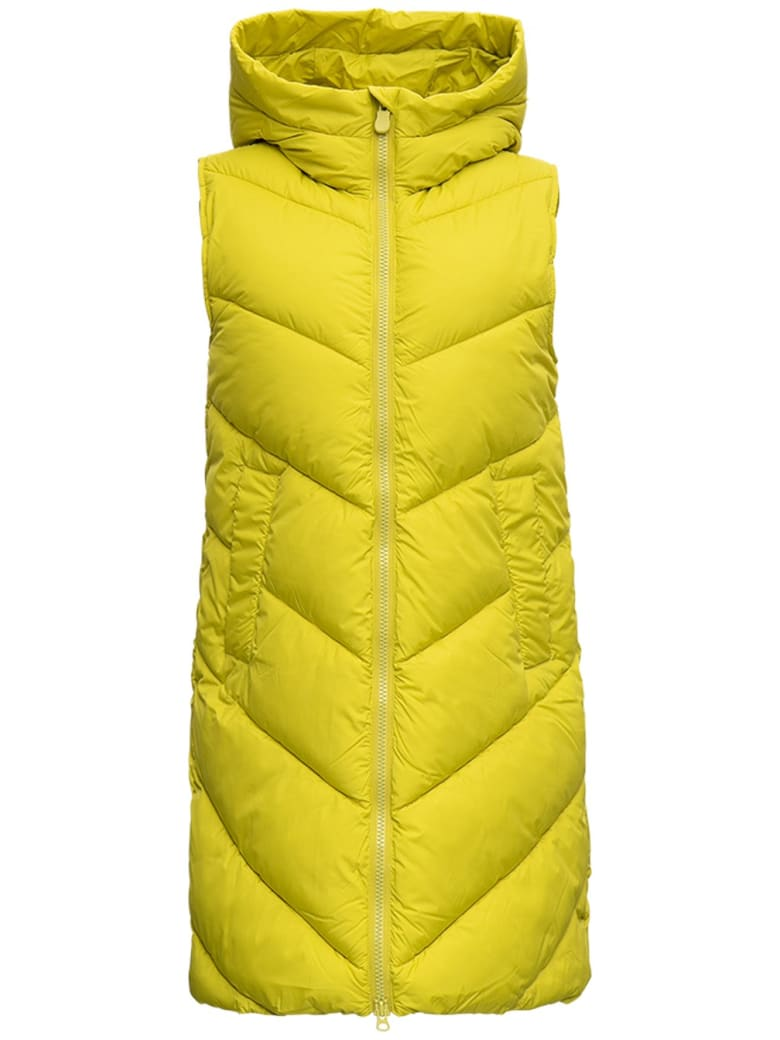 Save the Duck Long Ecological Quilted Sleeveless Down Jacket - Yellow