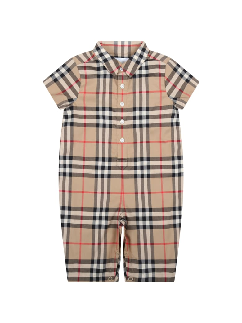 Burberry Beige Romper For Babykids With Vintage Check - Beige