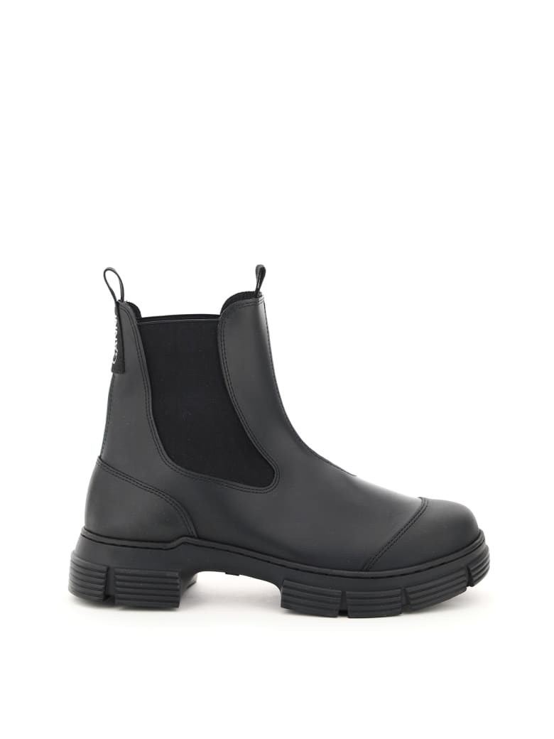 Ganni Recycled Rubber Chelsea Boots - Black