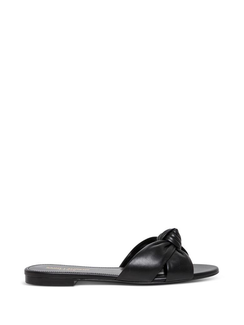 Saint Laurent Bianca Leather Flat Sandals - Black