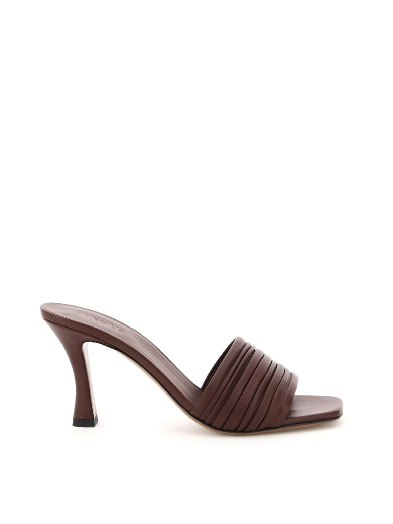 Neous Sham Pleated Mules - CHOCOLATE (Brown)