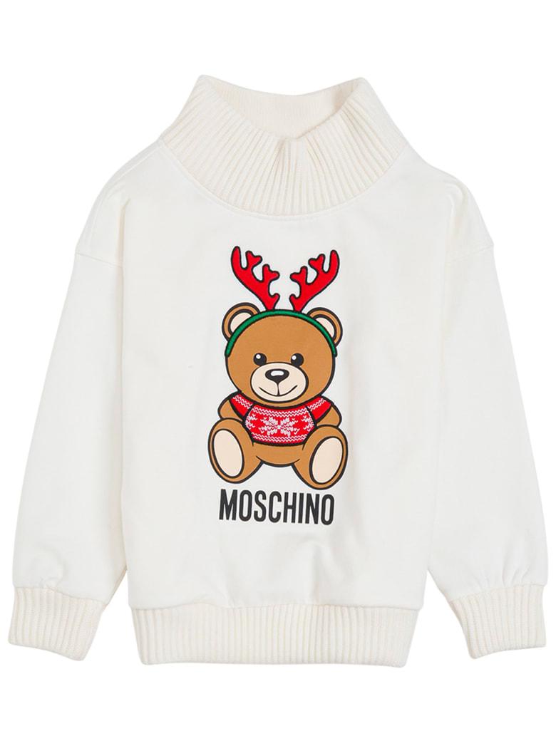 Moschino White Cotton Sweatshirt With Teddy Print - White