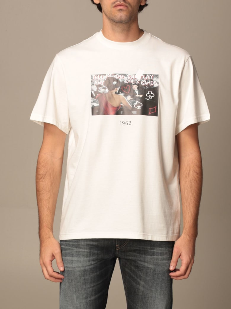 Throwback T-shirt Throwback Cotton T-shirt With Poker Print - White