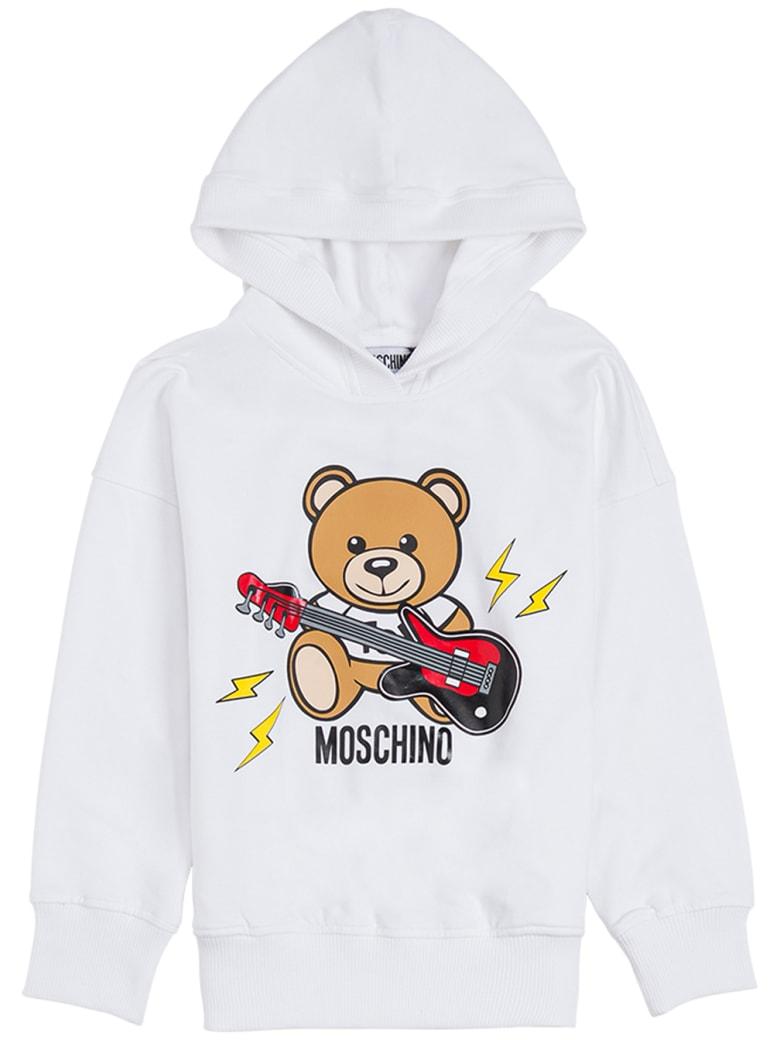 Moschino White Cotton Hoodie With Teddy Rock Print - White