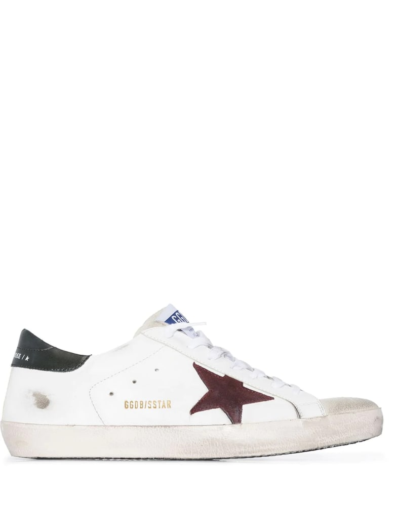 Golden Goose Man White Super-star Sneakers With Red Star And Black Spoiler
