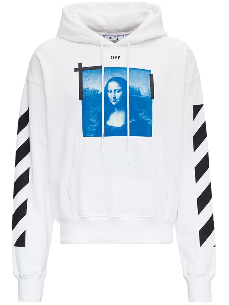 Off-White Oversize Hoodie In Jersey With Monnalisa Print - White