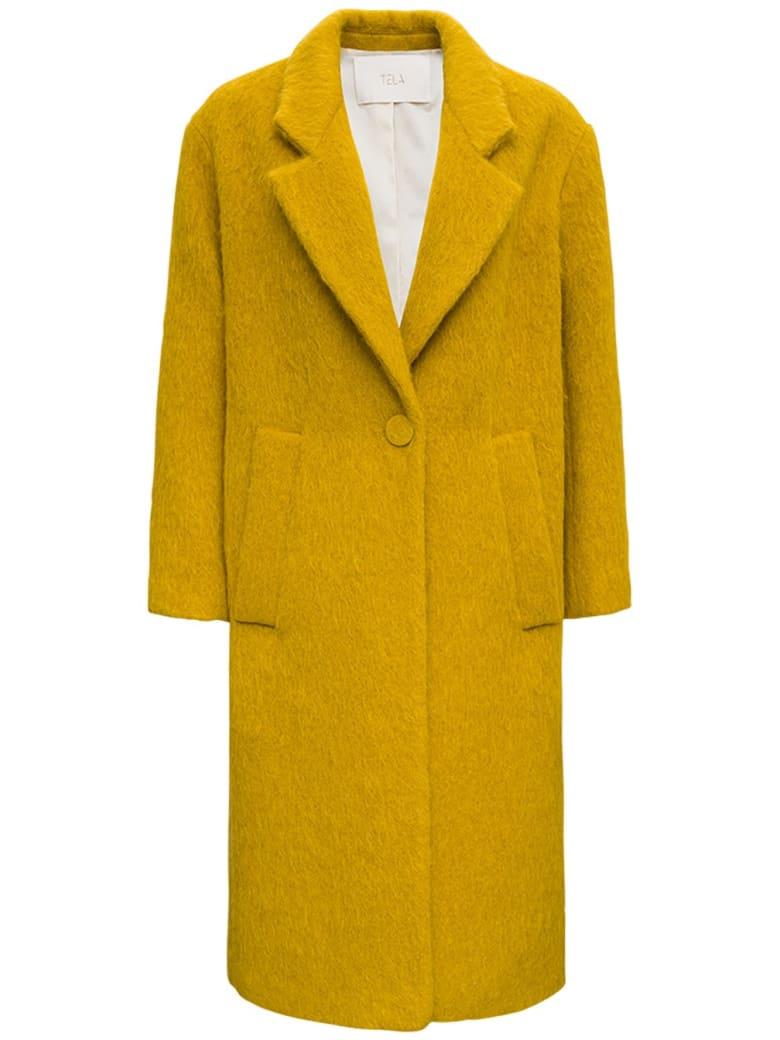 Tela Glam Long Coat In Ocher Colored Wool Blend - Yellow