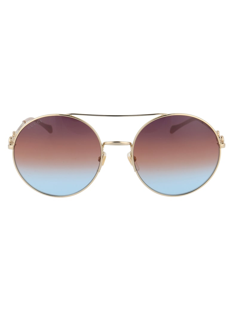Gucci Gg0878s Sunglasses - 004 GOLD GOLD BROWN