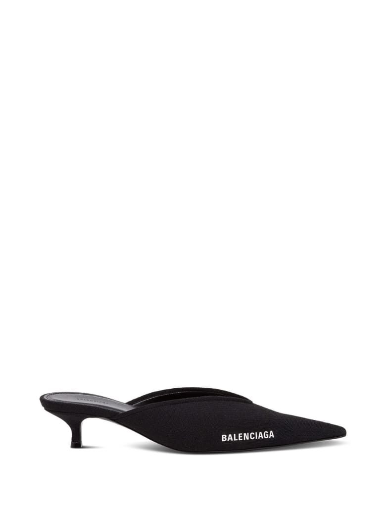 Balenciaga Pointed Mules Knife With Logo - Black