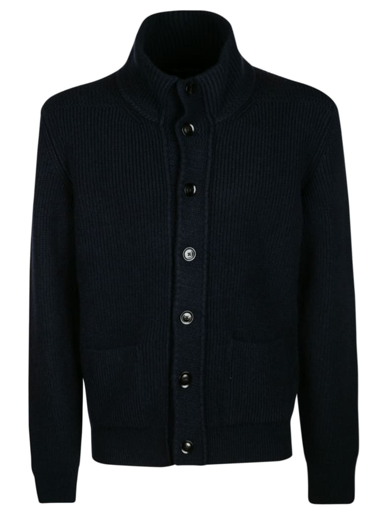 Tom Ford High-neck Buttoned Knit Sweater - Navy