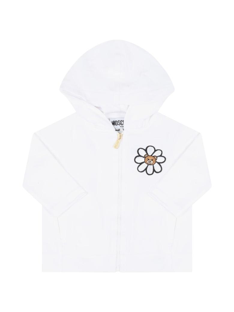 Moschino White Sweatshirt For Babygirl With Logo - Bianco Ottico