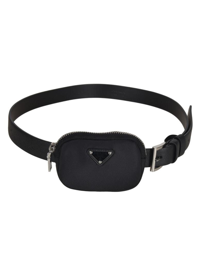Prada Pouch Applique Belt - Black