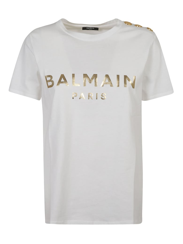 Balmain Metallic Logo Print T-shirt - White/Gold