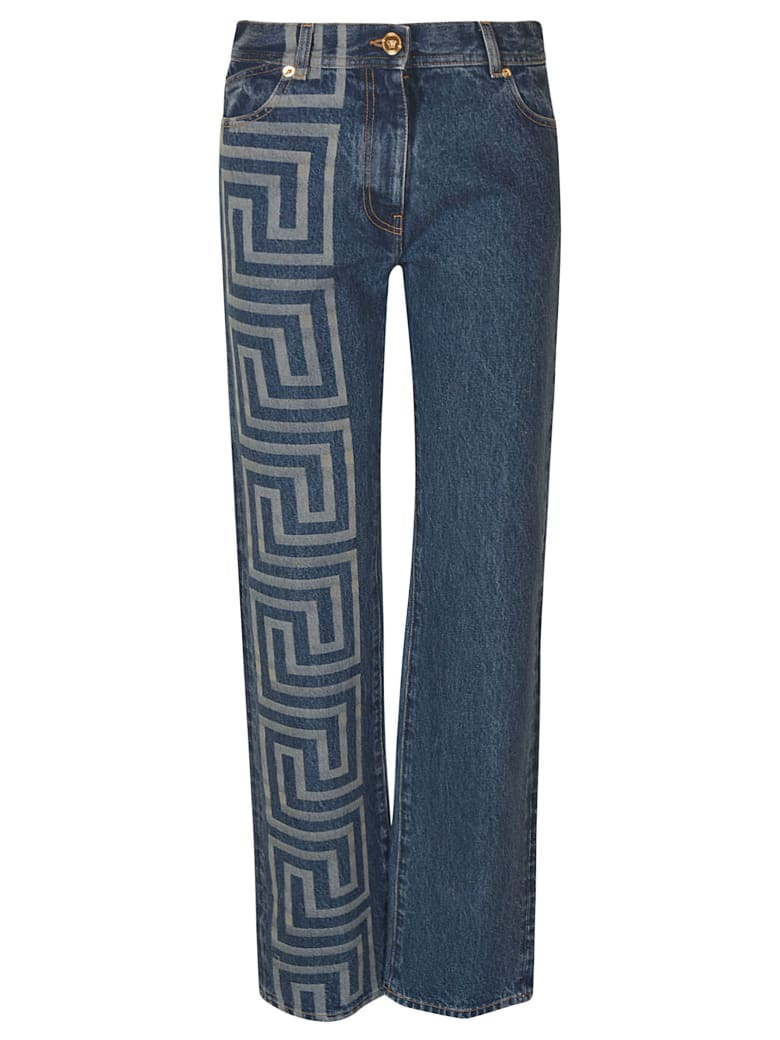 Versace Printed Straight Jeans - Stone Wash