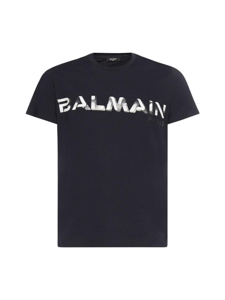 Balmain T-Shirt - MarinE fonce blanc