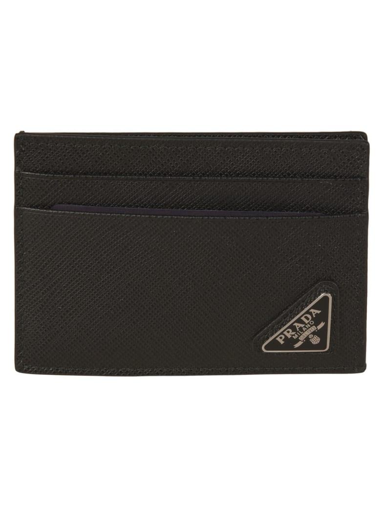 Prada Logo Plaque Clipped Card Holder - Black