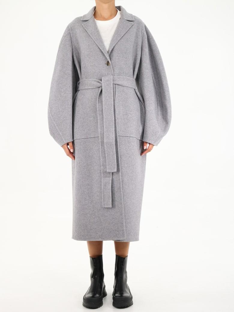 Loewe Circular Sleeve Coat In Wool And Cachemire - Grey