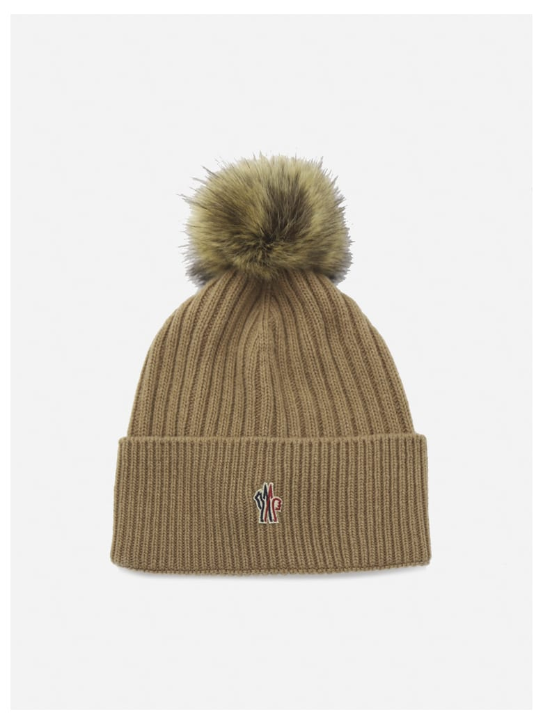 Moncler Wool Hat With Logo Patch - Beige