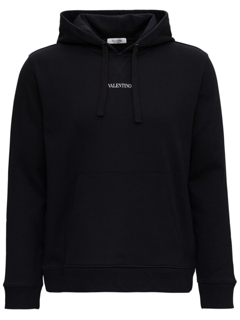 Valentino Jersey Hoodie With Logo Print - Black
