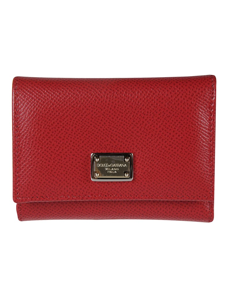 Dolce & Gabbana Logo Plaque Snap Buttoned Wallet - Rosso
