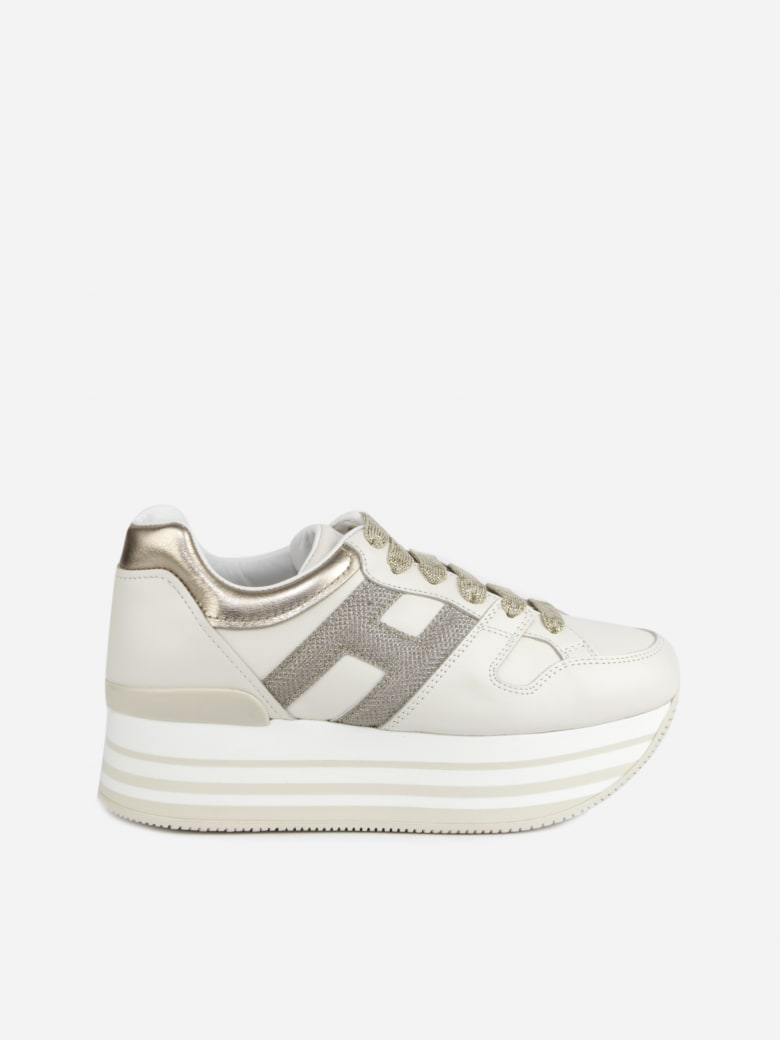 Best price on the market at italist | Hogan Hogan Maxi H222 Sneakers In Leather With Metallic Leather Details