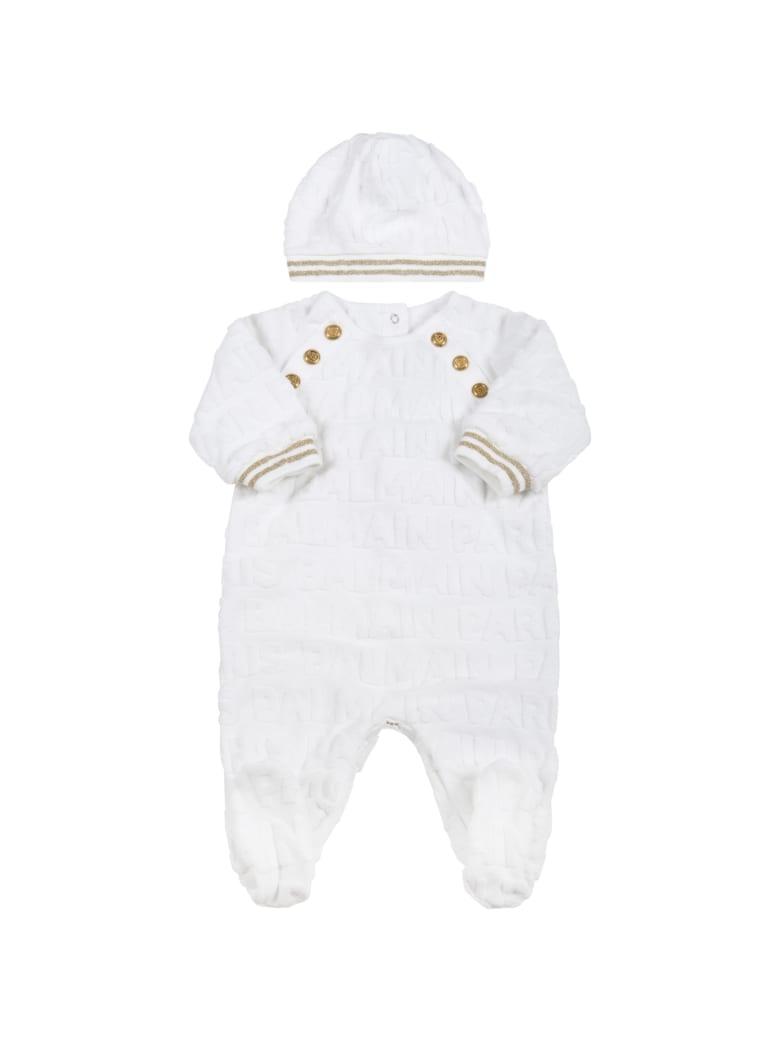 Balmain Black Set For Babykids With Black Logo - White