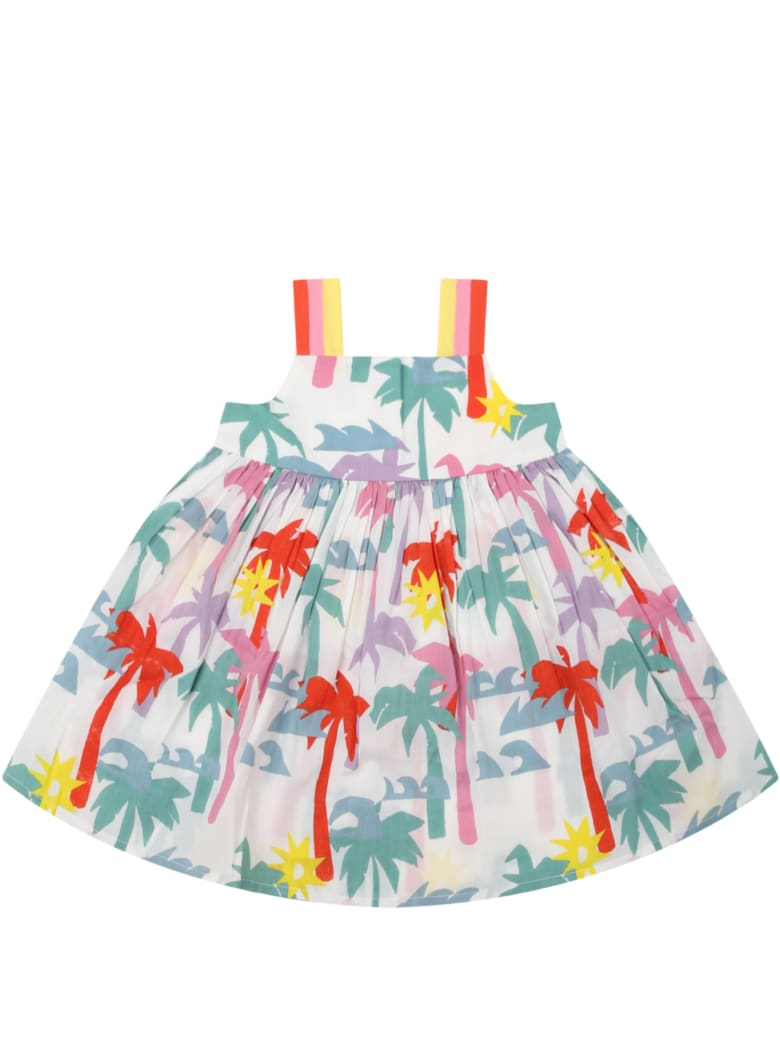 Stella McCartney Kids White Dress For Babygirl With Palm Trees - Multicolor