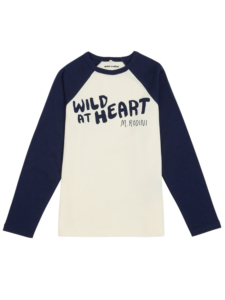 Mini Rodini Long-sleeved Cotton T-shirt With Wild At Heart Front Print - Blu