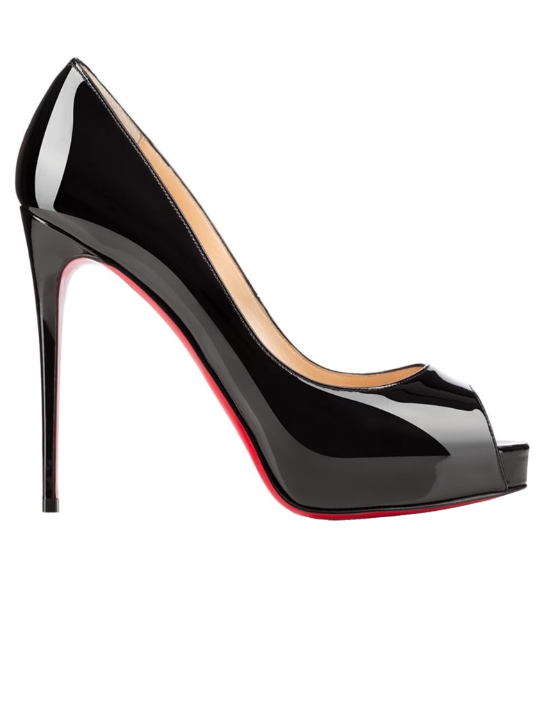 Christian Louboutin New Very Prive 120 Black Patent Leather Open Toe - BLACK