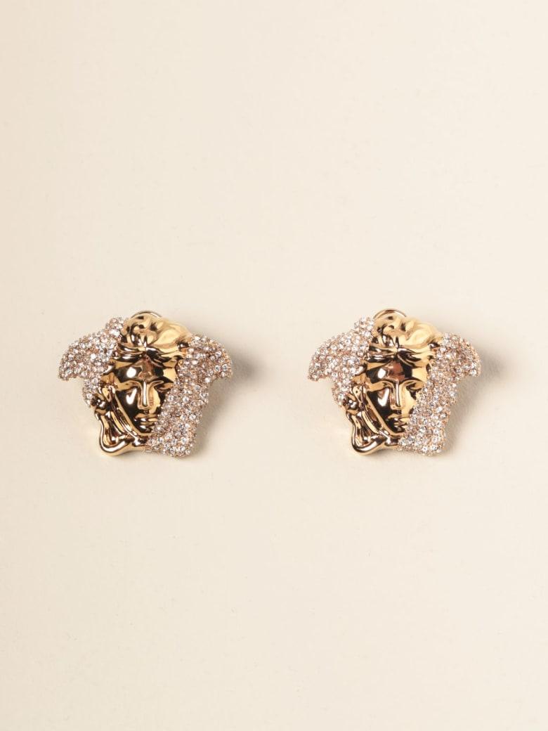 Versace Jewel Palazzo Dia Versace Earrings With Crystal Medusa Head - Gold