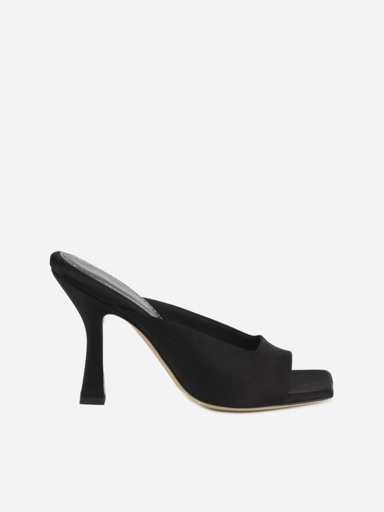 Aldo Castagna Square Heel Mules Made Of Satin - Black