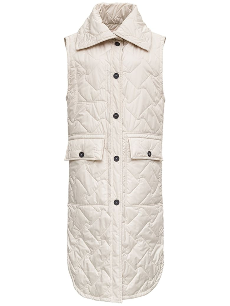 Tela Birillo Long Down Jacket In Beige Quilted Nylon - Beige