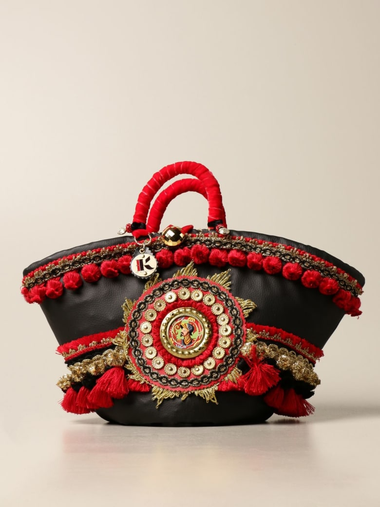 Sikuly Handbag Noto Sikuly Leather Coffa Bag With Maxi Pompom And Embroidery - Multicolor