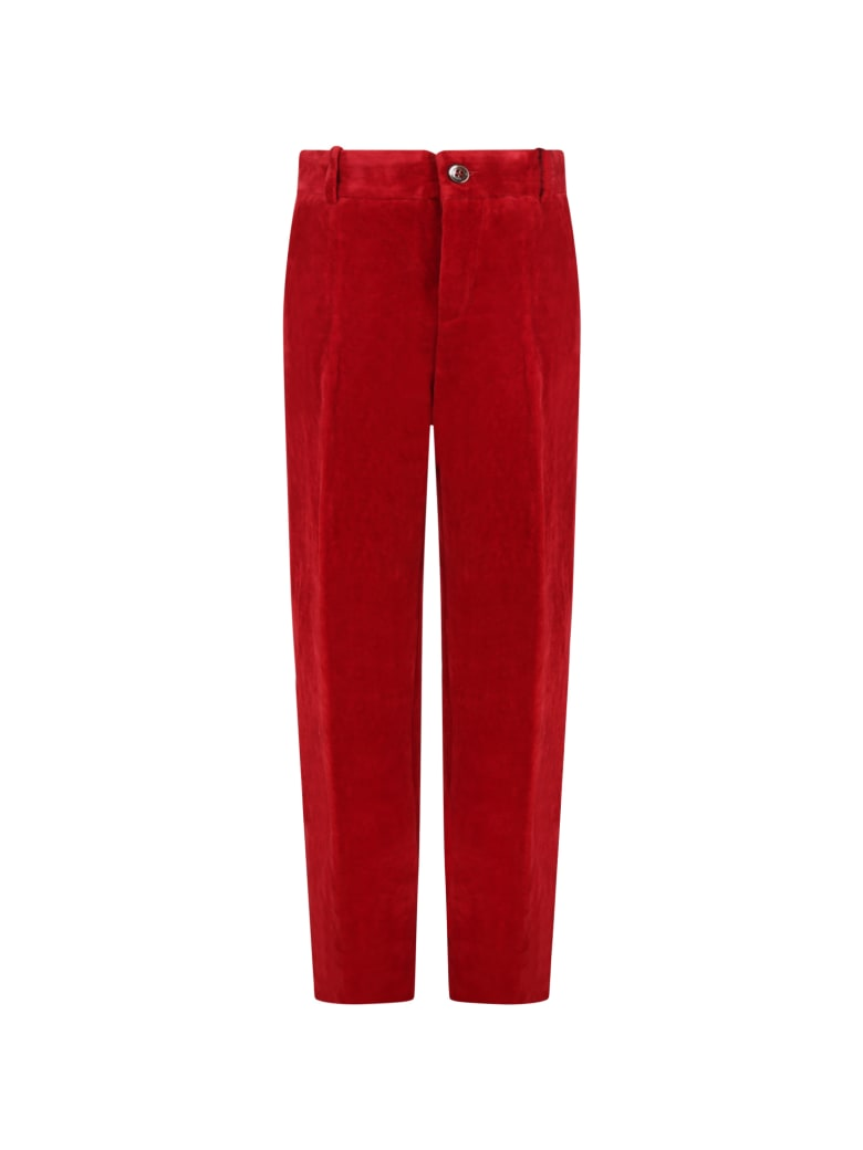 Gucci Red Trouser For Kids With Logo - Red