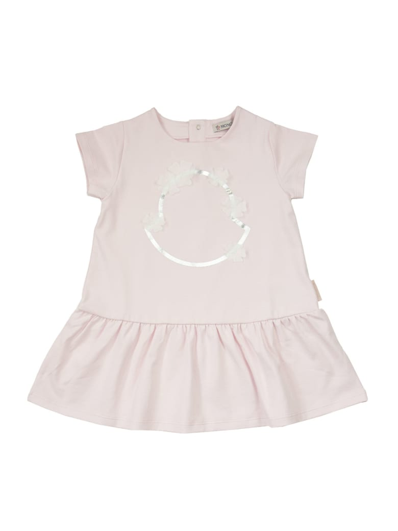Moncler Dress With Logo And Ruffles - PINK
