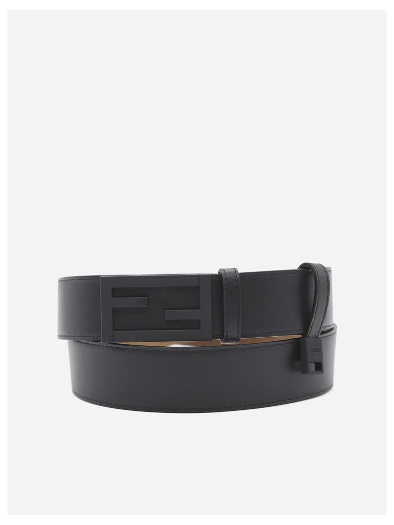Fendi Leather Belt With Ff Baguette Buckle - Black