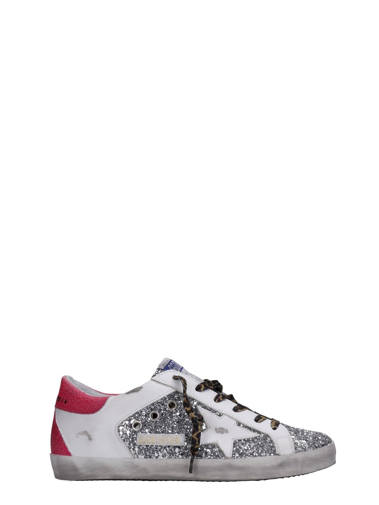 Golden Goose Superstar Sneakers In Silver Glitter - silver