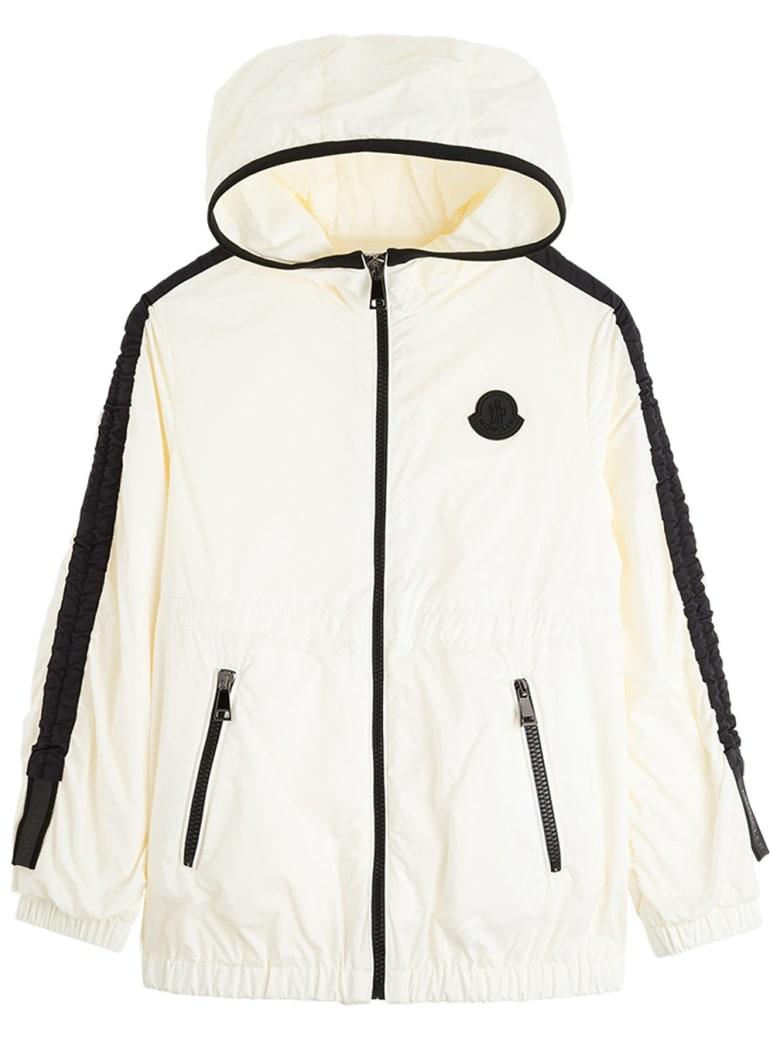 Moncler Denata Jacket In Black And White Nylon - White