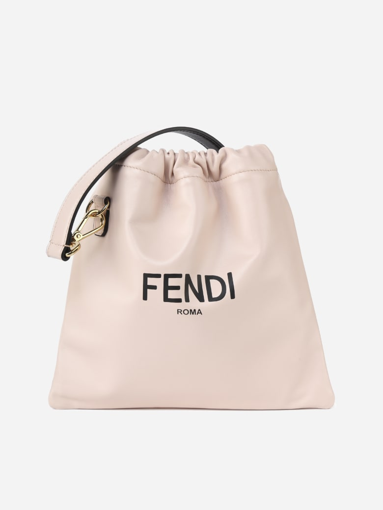 Fendi Small Pouch Pack In Leather - Rosa quarzo+nr+os