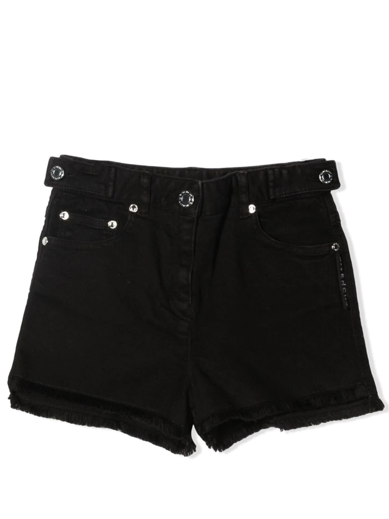 Givenchy Black Cotton Denim Shorts - Nero