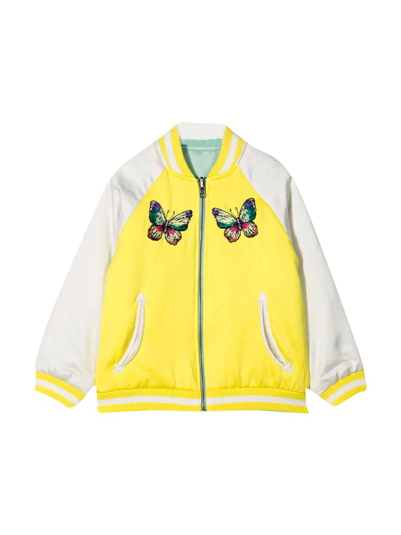 Stella McCartney Kids Reversible Multicolor Bomber Jacket With Applications - GREEN/YELLOW