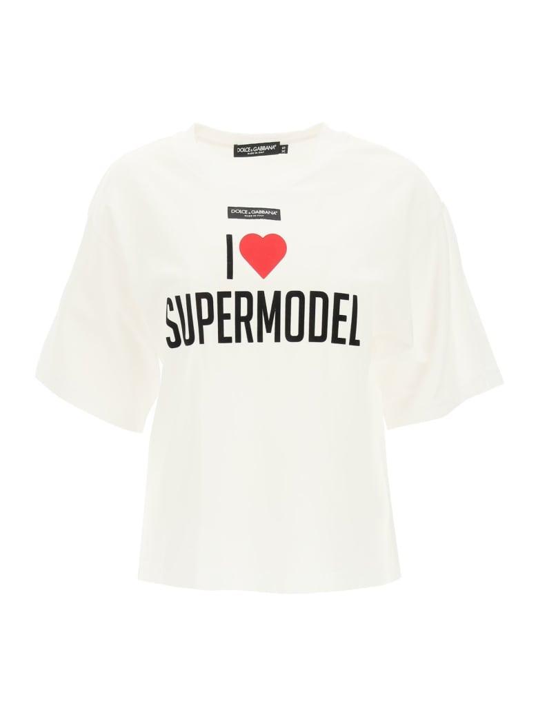 Dolce & Gabbana I Love Supermodel T-shirt - SUPERMODEL FDO.BIANC