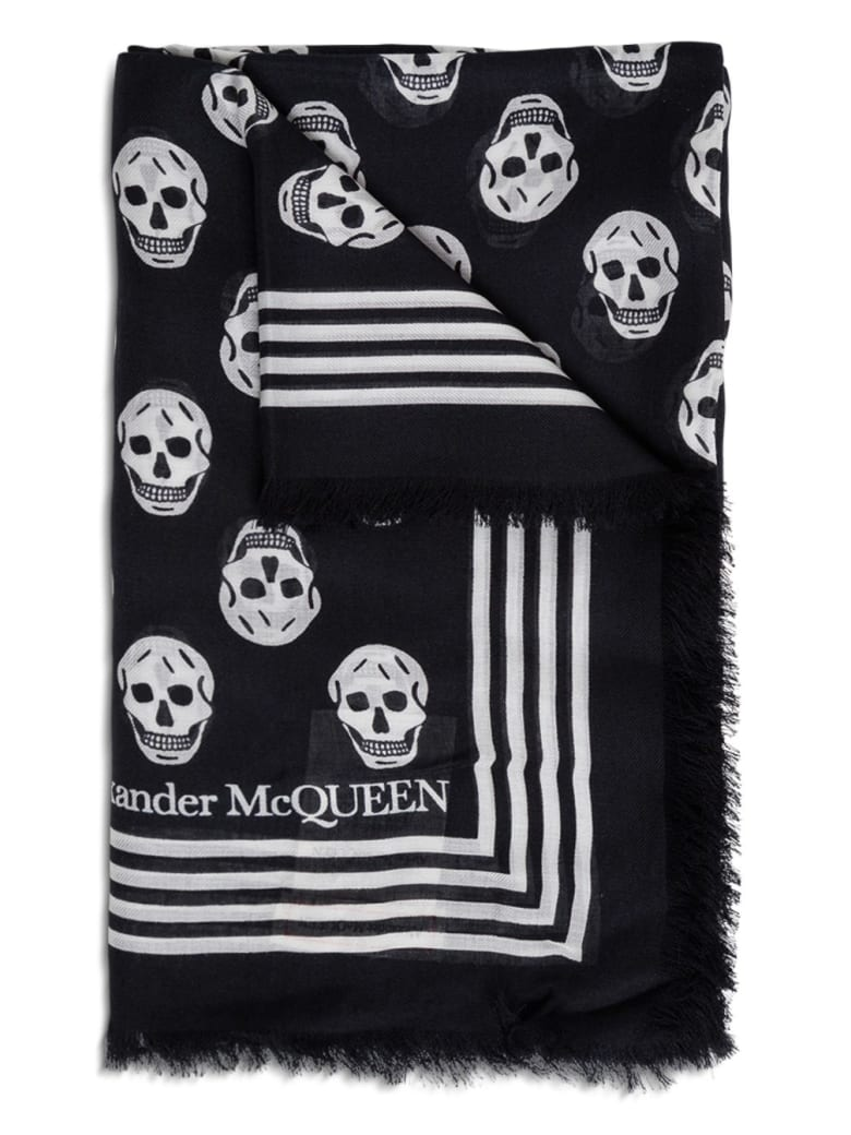 Alexander McQueen Scarf Biker 120x140 - Black