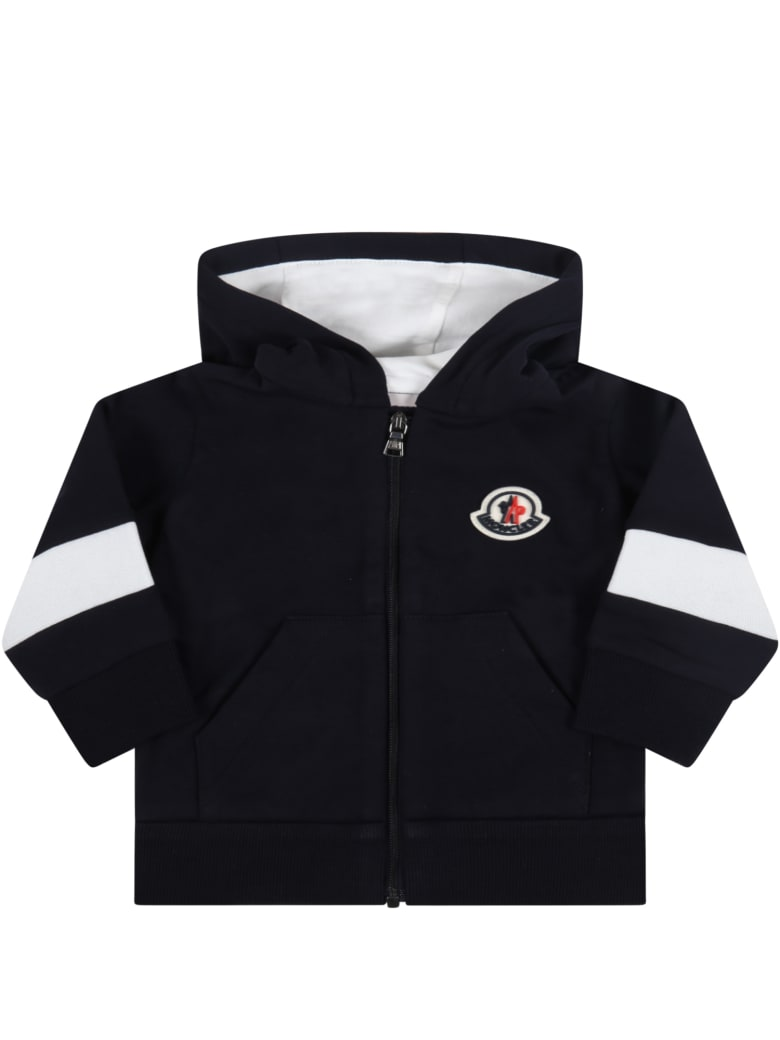 Moncler Blue Sweatshirt For Baby Kids With Iconic Patch - Blue
