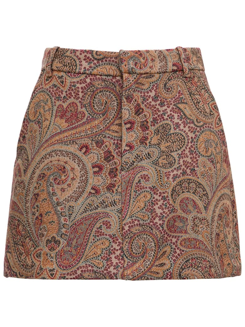 Etro Divided Mini Skirt With Paisley Jacquard Motif - Beige